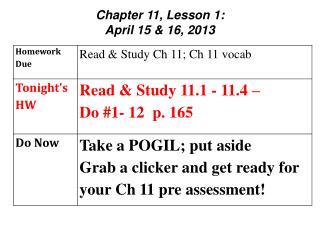 Chapter 11, Lesson 1:  April 15 & 16, 2013