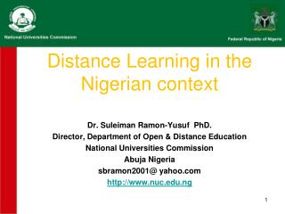 Distance Learning in the Nigerian context