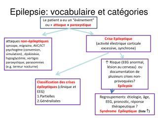 Epilepsie: vocabulaire et catégories