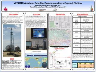 VE3RMC Amateur Satellite Communications Ground Station Alex Clay Cushley, BSc, RMC, BEd, OCT