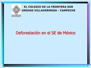 Deforestación  en el SE de  México
