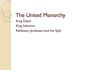The United Monarchy