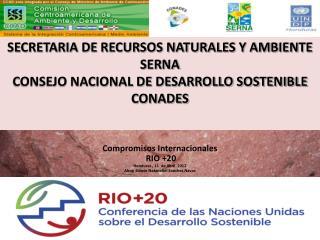 Compromisos Internacionales   RIO +20  Honduras , 11  de Abril  2012
