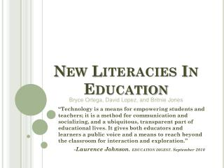 New  Literacies  In Education