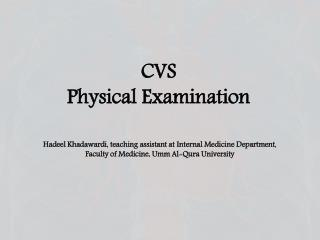 CVS Physical Examination
