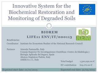 Innovative System for the Biochemical Restoration and Monitoring of Degraded Soils