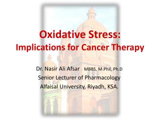 Oxidative  Stress: Implications  for Cancer  Therapy
