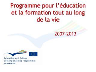 Programme pour l'éducation et la formation tout au long  de la vie