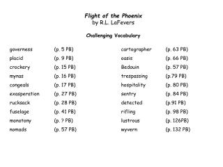 Flight of the Phoenix  by R.L.  LaFevers Challenging  Vocabulary