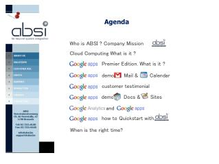 Today : Google Apps