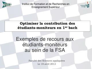 Optimiser la contribution des �tudiants-moniteurs en 1 er bach