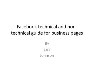 Facebook technical and non-technical guide for business pages