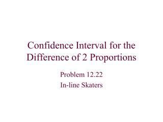 Confidence Interval for the Difference of 2 Proportions