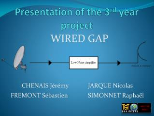 Presentation  of the 3 rd year project
