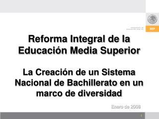Reforma Integral de la Educaci n Media Superior   La Creaci n de un Sistema Nacional de Bachillerato en un marco de dive