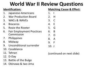 World War II Review Questions