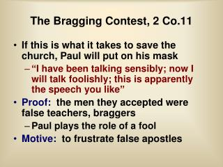 The Bragging Contest, 2 Co.11