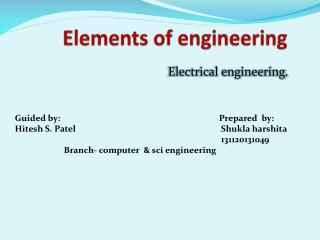 Elements of engineering