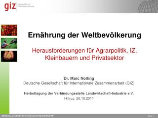 Dr. Marc Nolting Deutsche Gesellschaft für Internationale Zusammenarbeit (GIZ)