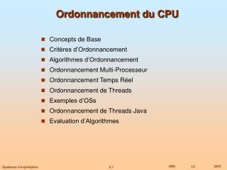 Ordonnancement du CPU