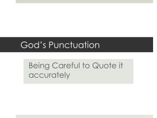 God's Punctuation