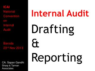 ICAI National Convention on Internal Audit Baroda 23 rd  Nov 2013