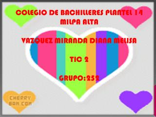 COLEGIO DE BACHILLERES PLANTEL 14 MILPA ALTA VAZQUEZ MIRANDA DIANA MELISA TIC 2 GRUPO:252