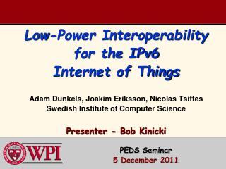 PEDS Seminar 5 December 2011