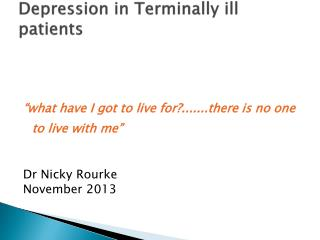 Depression in Terminally ill patients