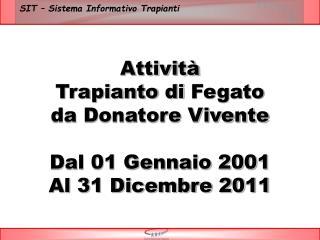 Attività Trapianto di  Fegato da Donatore Vivente Dal 01 Gennaio 2001 Al  31 Dicembre 2011