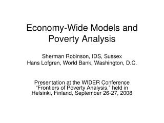 Economy-Wide Models and Poverty Analysis