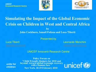 Simulating the Impact of the Global Economic Crisis on Children in West and Central Africa by  John Cockburn, Isma l Fof