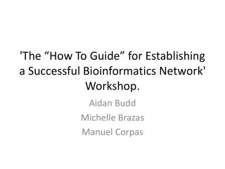 "'The ""How To Guide"" for Establishing a Successful Bioinformatics Network' Workshop."