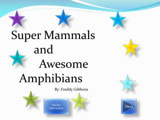Super Mammals  	     and 		    Awesome 						Amphibians