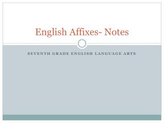 English Affixes- Notes