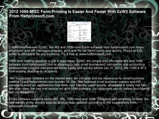 2012 1099-MISC Form Printing Is Easier And Faster With EzW2