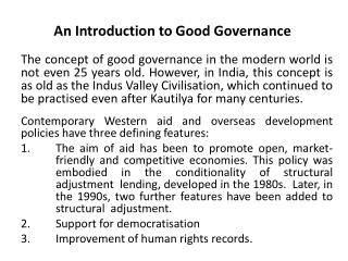 An Introduction to Good Governance