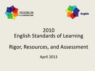 2010 English Standards of Learning Rigor, Resources, and Assessment April 2013