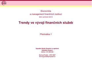Trendy ve vývoji finančních služeb