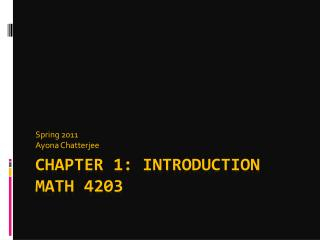 Chapter 1: Introduction Math 4203