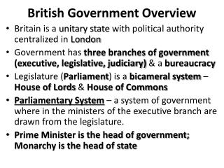British Government Overview