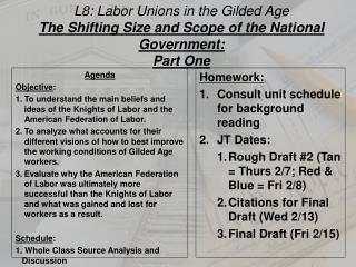 L8: Labor Unions  in the Gilded Age The Shifting Size and Scope of the National Government: