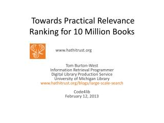 Towards Practical Relevance Ranking for 10 Million Books
