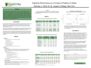 Cognitive Performance as a Function of Patterns of Sleep