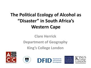 "The Political Ecology of Alcohol as ""Disaster"" in South Africa's  Western  Cape"