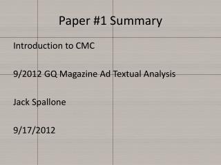 Paper #1 Summary