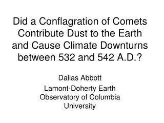 Dallas Abbott Lamont-Doherty Earth Observatory of Columbia University