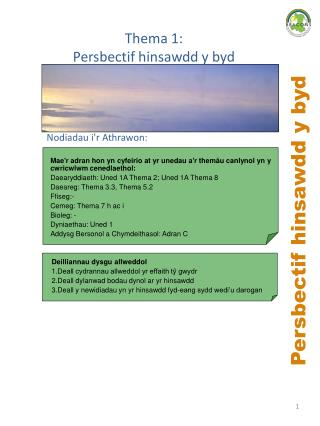 Persbectif hinsawdd y byd