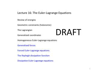 Lecture 16: The Euler-Lagrange Equations