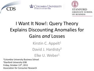 I Want It Now!: Query Theory Explains Discounting Anomalies for Gains  and  Losses